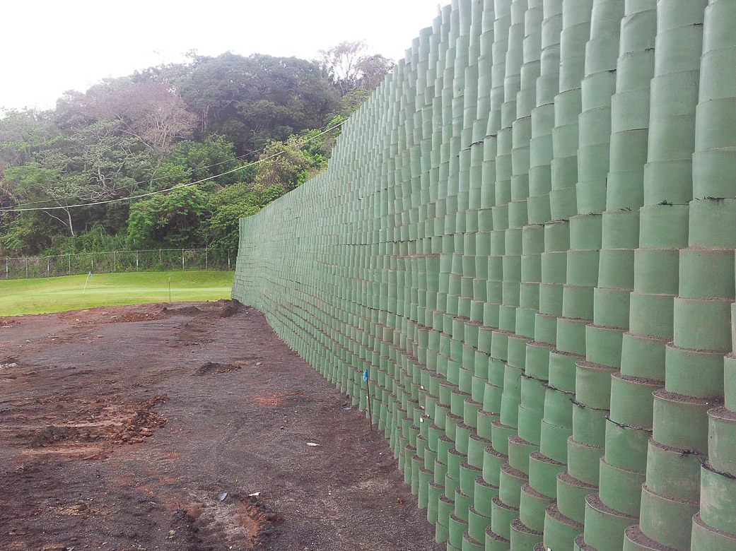 GeoCell retaining wall application